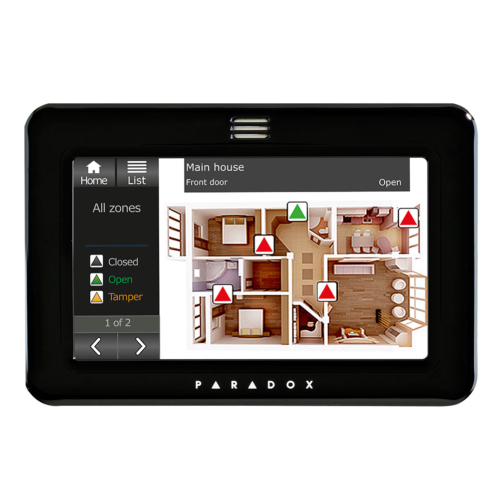 Paradox hardwired home Alarms tablet view